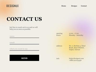 Contact Us | Daily UI #028 graphic design web branding ui design blur gradient contact 028 dailyui
