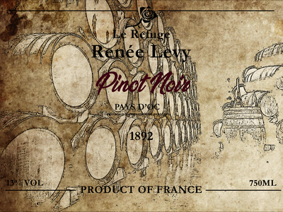 Pinot Noir- french wine label branding design illustration typography
