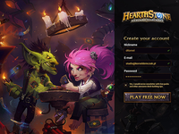 Hearthstone sign up page