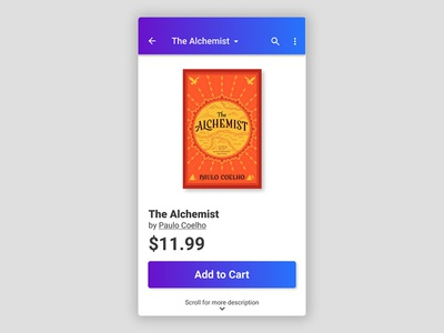Daily UI Challenge 012: Single Product daily ui challenge the alchemist book mobile e-commerce single product design user interface daily ui ux ux design ui dailyui ui design uxui