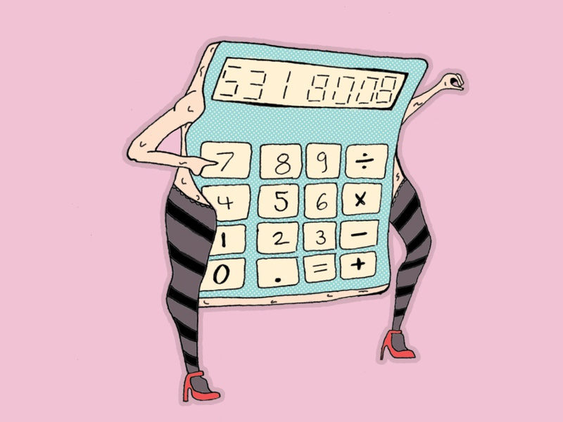 Sexy Calculator electric sticker design sticker mule sketch character cartoon dancer sexy calculator sticker design dance illustration