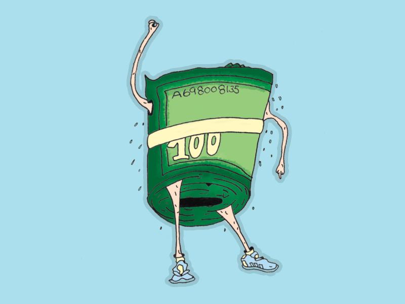 the Money Shot illustraion roll dollars sketch sticker design sticker mule sticker adidas dance cartoon character character cartoon money