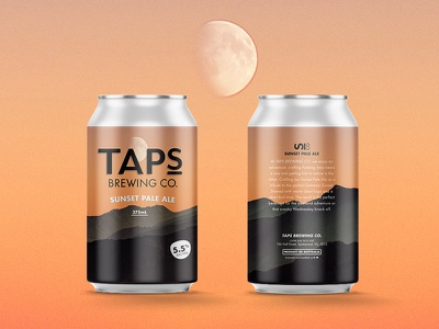 Taps Sunset Pale Ale snow packaging mountains mountain design label ipa craft can brewery beer
