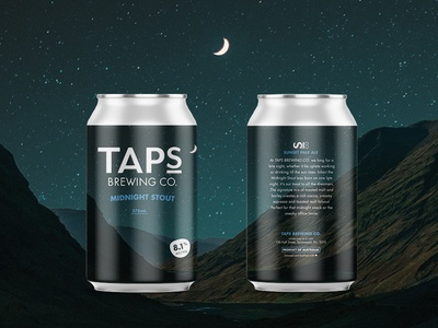 Taps Midnight Stout beer brewery can craft ipa label design mountain mountains packaging snow