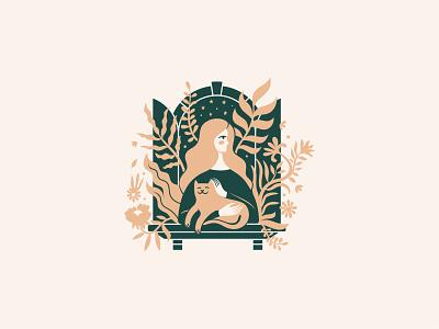 Bloom character design vector flower shop logotype mark branding illustration logo