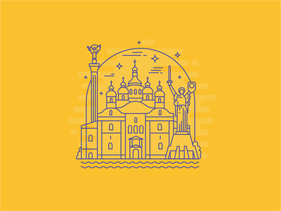 Ukraine kiev lineart illustration icon flat ukraine