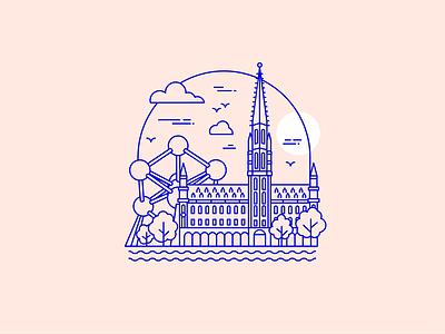 Belgium brussels atomium belgium lineart icon flat simple illustration