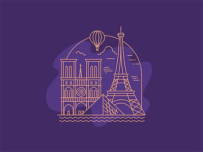 France eiffel notredame paris simple illustration icon flat france