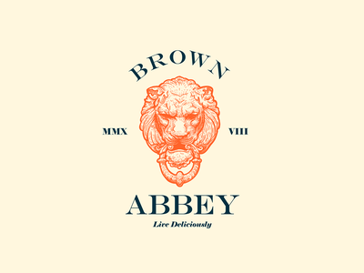 Abbey #2 vintage lion engraving typography design logo mark