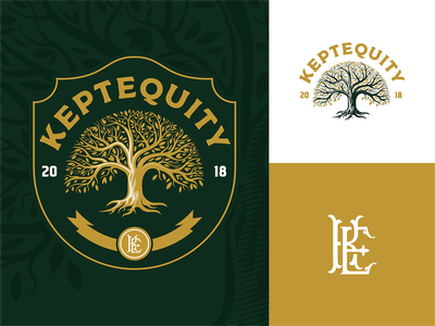 Tree engraving badge tree type branding mark design vector illustration logo