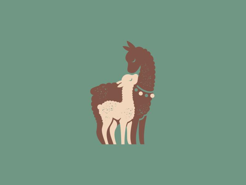 Llamas alpaca animal llama llamas mark character print flat illustration vector logo