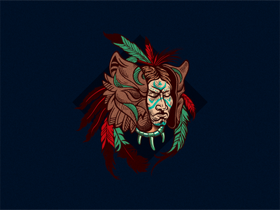 El Chaman ethnos mask chaman character feathers print mark vector logo illustration
