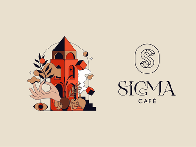 SIGMA caffee badge identity flat print vector illustration lettering typography branding logotype logo