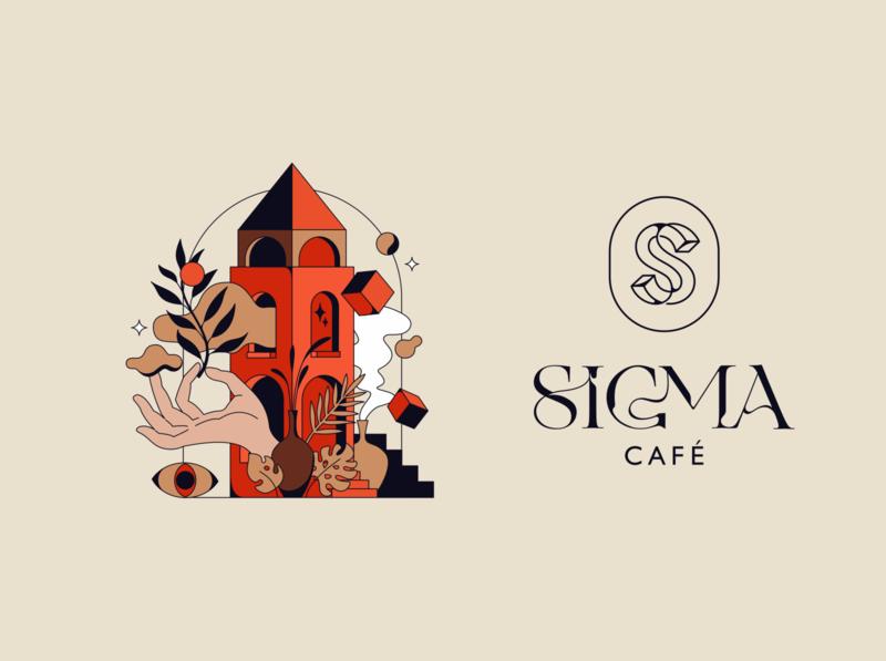 SIGMA caffee badge identity flat print vector illustration lettering typography branding logotype logo