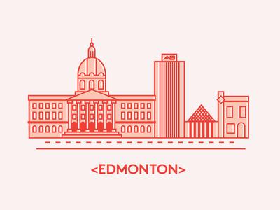 Edmonton Geometric Line Illustration