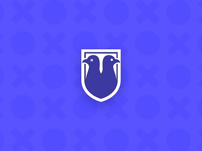 Squab And Pigeon Mark shield pigeon logo branding