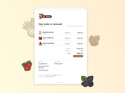 DailyUI#17 receipt fruits flat email ux ui figma design dailyui