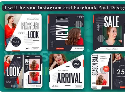 Social Media Template Design Insta or FB typography graphic design vector illustration post template template design fb post insta post