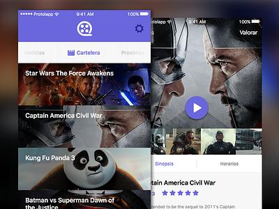 Cinema App iOS marvel starwars sci-fi movies concept ios debut hello mobile ui ux