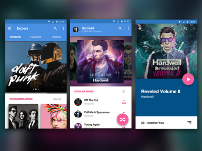 UI Music App concept mobile android flat material electronic ux design ui playlist music music app