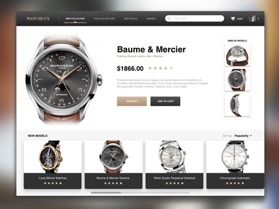 Watch Store - Product Detail Sample ui ux fashion elegant web design minimal store watch ecommerce