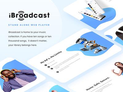 iBroadcast Web Player music landing mobile web ux app icon typography design logo branding graphic design ui