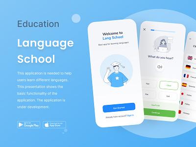 Language School ux ui icon landing logo graphic design branding design app