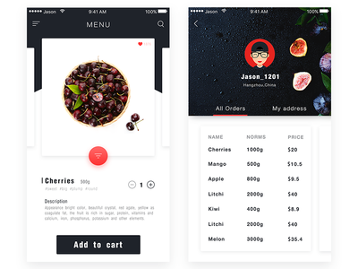 Recipe Fruits Interface