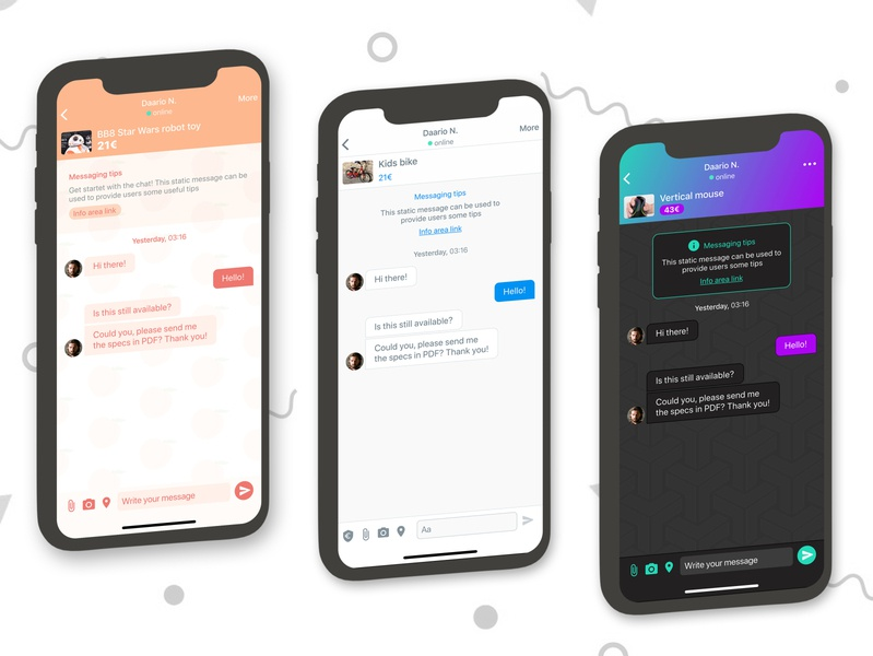 Same chat app, different brand style - May 2020 brandingidentity style ios message app messaging graphic design ui design branding brand chat app
