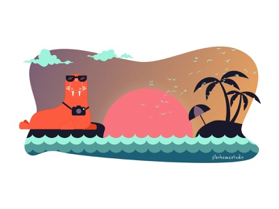 Hero Illustration 2019 - bohemestudio.com sunset walrus illustration art design illustration