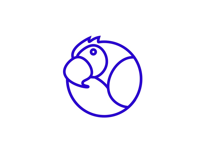 Messaging Parrot Logo - Blue icon vector doodle branding brand illustration logotype ui graphic design identity team logo parrot design