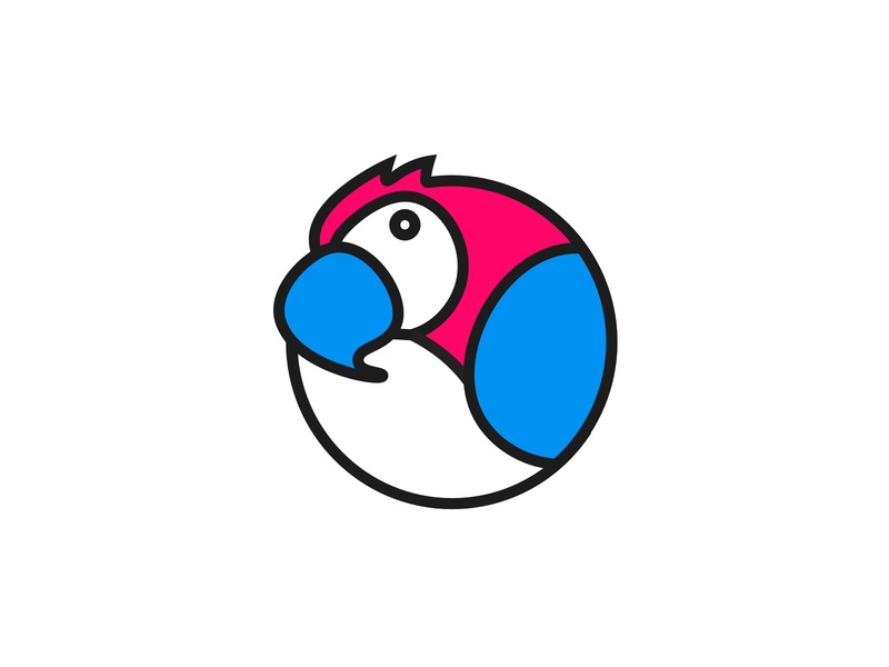 Messaging Parrot Logo - Colour vector ui team parrot logo  logotype illustration identity icon graphic doodle design branding brand
