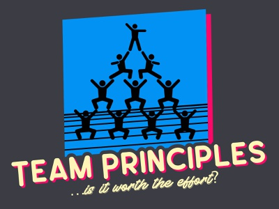 Team principles … is it worth the effort? (Cover) teamwork 80s style 80s illustration pyramid design principles principles team design