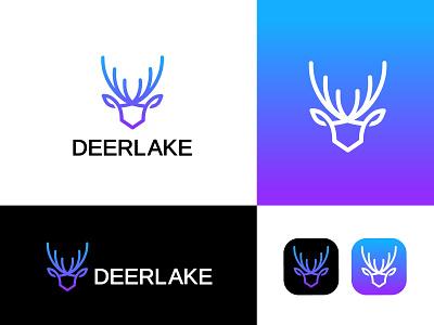 Deerlake logo deer design deer icon deer logo logo type logo designer logo artist logo art logo  branding branding professional logo logo design logo graphic design
