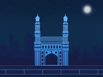Hyderabad Icon Illustration icons building illustration charminar icon city pearl hyderabad