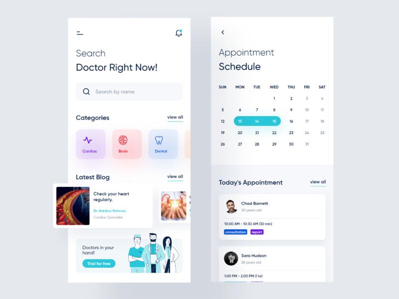 Medical App Concept minimal design concept ui kit kit calendar appointment medical health patient doctor ux ios app ui
