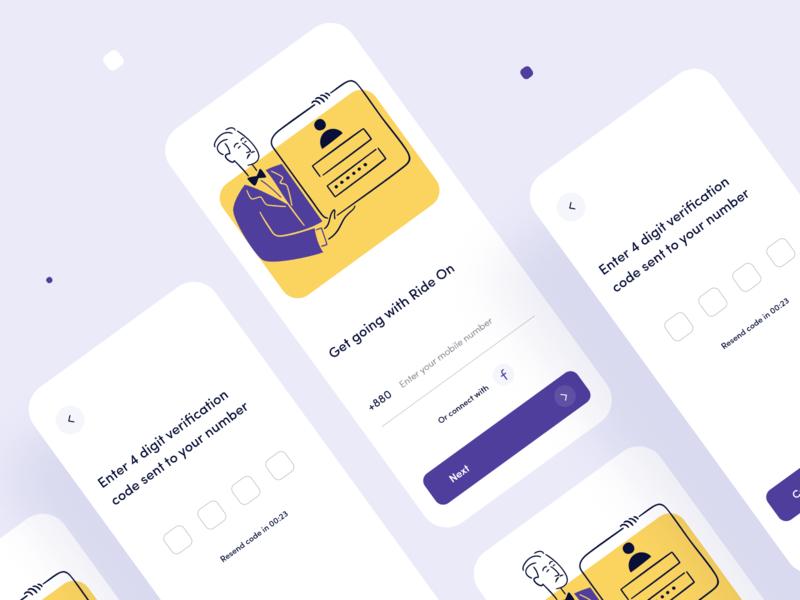 App Login with OTP app design sleek violet cool interface onboarding ui login form password otp phone loginui dribbble ios concept design app ux minimal ui
