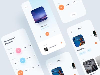 Personalized Music App cool sleek shot popular album artist song play music art music player music app ios concept design app ux minimal ui