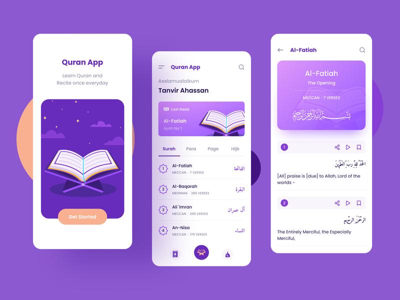 Quran App Concept (with Surah view) minimal concept colors muslim islam quran trendy modern ui design appui verse surah islamic islamicapp muslimapp alquran qranapp quranappui uiux ui