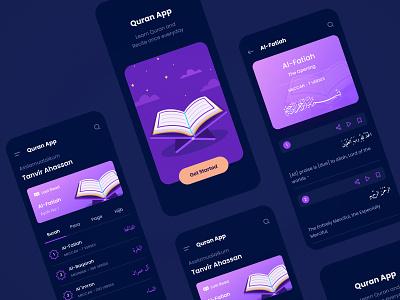 Quran App Concept (Dark Mode) minimal dark mode dark app dark ui ayah surah instagram mobileapp ios ux design concept muslimapp muslim islam islamicapp alquran quranapp quran uiux ui