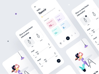 Personal Health Tracker App orely health care food healthy life health tracker fitness app health app healthcare fitness health trendy sleek ios modern concept minimal design app ux ui