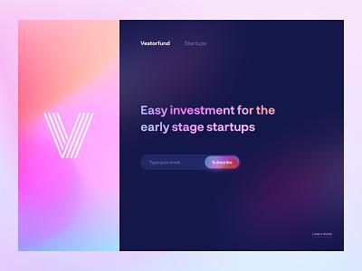 Vestorfund - Header Concept startups investment landing page design modern colors gradient hero image web header header website landing trendy modern design concept ux minimal ui