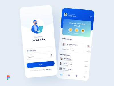 DoctoFinder App Concept - Free Download (Figma File) call schedule doctor appointment patient healthcare health medical doctor cool design cool trendy uiux modern ios design app ux concept minimal ui