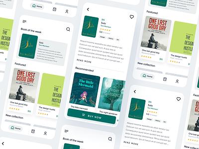 Book Store App books reader buy ecommerce shop ebook design magaziine green book concept ios ux minimal app ui
