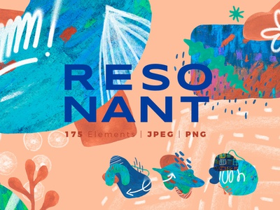 Resonant abstract watercolor collage design collection graphics collection abstract design abstract logo branding and identity branding design branding kit branding concept