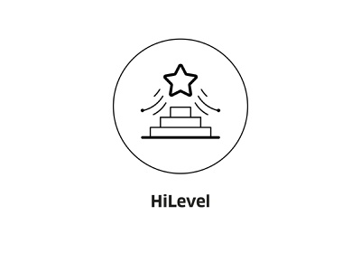 HiLevel ( vector icon ) brand sign lineart icons line steps pedestal line art illustration first star symbol vector icon level high