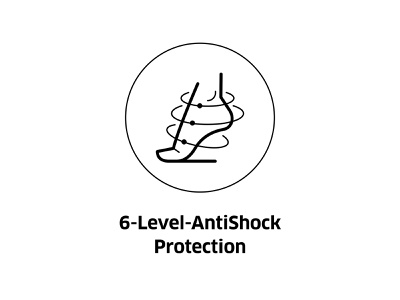 6-Level-AntiShock Protection ( vector icon ) sport app step sign lineart logo footwear symbol foot line art illustration drawing protection icons antishock vector icon level