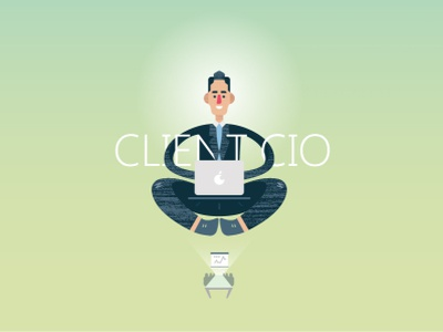 Client CIO (vector flat illustrations) person laptop meditation meditate boss repair engineering trendy icon ceo drawing vector cio textured flat illustration client