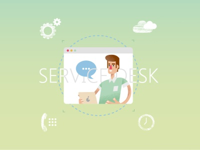 Service desk (vector flat illustrations) supporter support repairman apple engineering mascot design design vector character man trendy icons servicecenter drawing textured flat illustration desk service