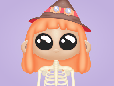 Cute Weirdo halloween nft character cute character skeleton witch hat cute illustration nft cryptocurrency collectible bitcoin bnb cartoon character